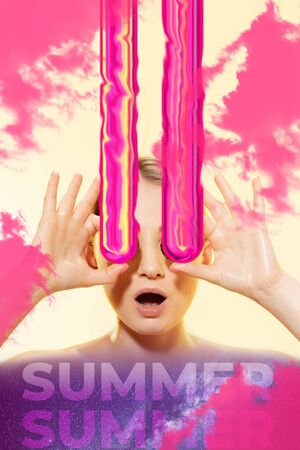 Woman with melting eyeglasses on bicolor background, shocked. Copyspace. Modern designed poster. Contemporary artwork, collage. Concept of summertime, vacation, resort, summer mood, beach season. Zdjęcie Seryjne - 147829657