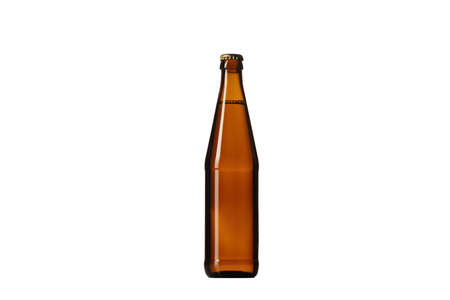 Empty golden colored beer bottle. One object isolated on white studio background. Concept of beer, beverage, entertainment and alcohol. Copyspace for your bar, restaurant, brewery or shop advertising.