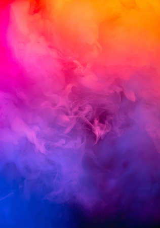 Abstract colorful, multicolored smoke spreading, bright background for advertising or design, wallpaper for gadget. Neon lighted smoke texture, blowing clouds. Modern designed.