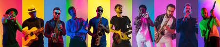Collage of portraits of 8 young emotional talented musicians on multicolored background in neon light. Concept of human emotions, facial expression, sales. Inspied male jazzmen, guitarist, singer. Stok Fotoğraf
