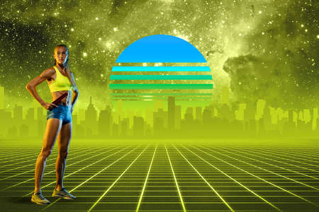 Athlete woman. Beautiful background, synth wave and retro wave, vaporwave futuristic aesthetics. Ultraviolet, sportsman in glowing neon. Stylish flyer for ad, offer, bright colors and city view.