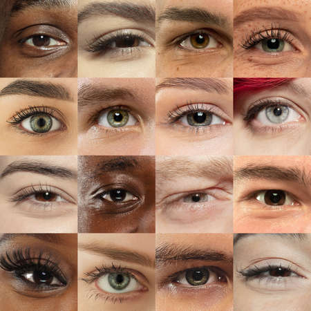 Set, collage of different types of male and female eyes. Concept of beauty, mental health, ophtalmology, cosmetology, cosmetics. Beautiful close up eyes of 16 people with different colors and emotions. Foto de archivo