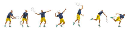 Gameplay. Young caucasian professional sportsman playing tennis on white background, collage, motion of balls hit in dymanic. Power and energy. Movement, ad, sport, healthy lifestyle concept. Artwork.