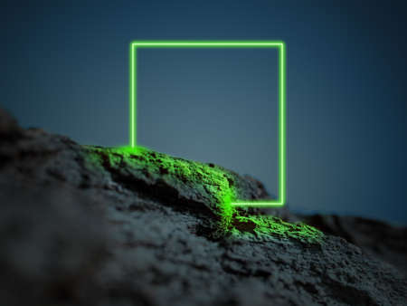 Luminous green square. Synth wave, retro wave, vaporwave futuristic aesthetics. Glowing neon style. Horizontal wallpaper, background. Stylish flyer for ad, offer, bright colors and smoke neoned effect.