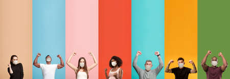 Young attractive people look celebrating on multicolored backgrounds. Young emotional surprised people in funnt protective face masks. Human emotions, facial expression concept. Creative collage.