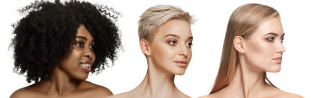 Multi-ethnic beauty. Different ethnicity and beautiful young women isolated on white background. Flyer for ad. Concept of beauty, fashion, healthcare, skincare. Interracial and multiculturalism.