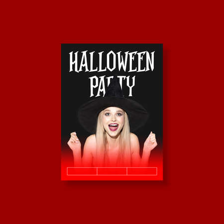 Young woman in black hat on scary red and black background. Attractive caucasian female model. Halloween, black friday, cyber monday, sales, autumn concept. Flyer for your ad. Party invite card