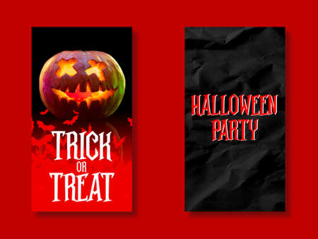Scary pumpkin with candle on red and black background, the night of fear. Design for sales, copyspace. Halloween, black friday, cyber monday, autumn concept. Flyer for your ad. Stories set for instagram.