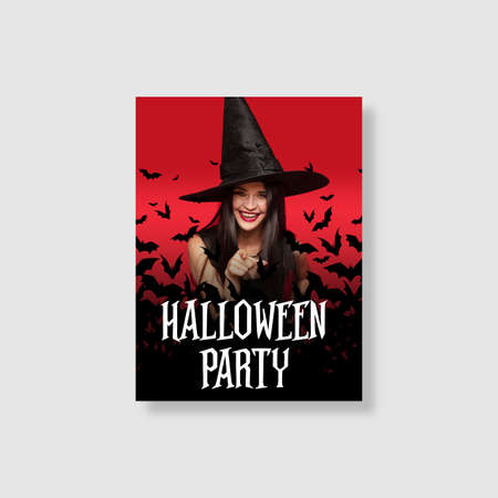 Young woman in black hat on scary red and black background. Attractive caucasian female model. Halloween, black friday, cyber monday, sales, autumn concept. Flyer for your ad. Party invite card.