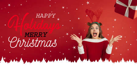 Greeting flyer for ad. Concept of Christmas, 2021 New Years, winter mood, holidays. Copyspace, postcard. Beautiful caucasian woman like Santas Rudolph the Red-Nosed Reindeer crazy happy.