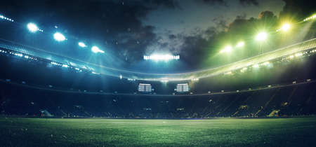 Full stadium and neoned colorful flashlights background. Flyer with copyspace in modern colors. Concept of sport, competition, winning, action and motion. Empty area for championships, your ad, design. Standard-Bild