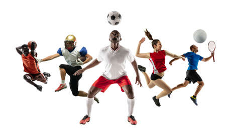 Collage of different professional sportsmen, fit men and women in action and motion isolated on white background. Made of 5 models. Concept of sport, achievements, competition, championship. Stock Photo