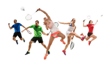 Collage of different professional sportsmen, fit men and women in action and motion isolated on white background. Made of 2 models. Concept of sport, achievements, competition, championship.