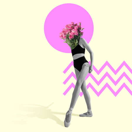 Ballet dancer or performer with pink roses as a head on light studio background. Copyspace. Modern design. Creative conceptual and colorful contemporary art collage.