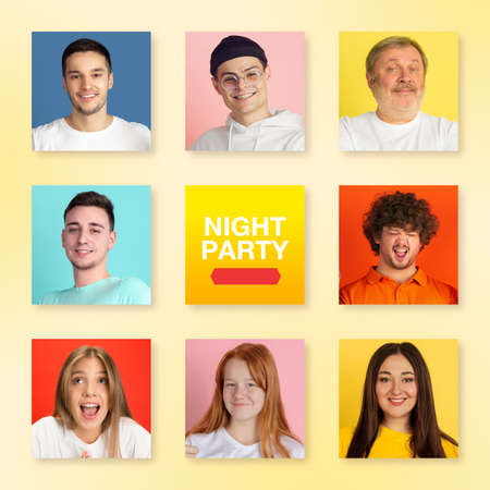 Bright portrait of people on multicolored background. Collage made of 8 models. Concept of human emotions, facial expression, advertising. Happy, smiling, cheerful, successful. Diversity. Night party