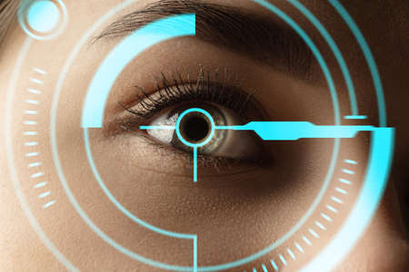 Close up. Future woman with cyber technology eye panel, cyberspace interface, ophthalmology concept. Beautiful female eye with modern identification, medical treatment for focus. Visual effects.