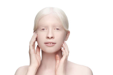 Purity. Portrait of beautiful albino woman isolated on white studio background. Beauty, fashion, skincare, cosmetics concept. Copyspace. Well-kept skin, fresh look. Inclusion and diversity.