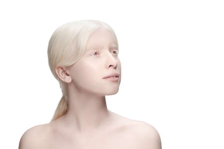 Innocent. Portrait of beautiful albino woman isolated on white studio background. Beauty, fashion, skincare, cosmetics concept. Copyspace. Well-kept skin, fresh look. Inclusion and diversity.