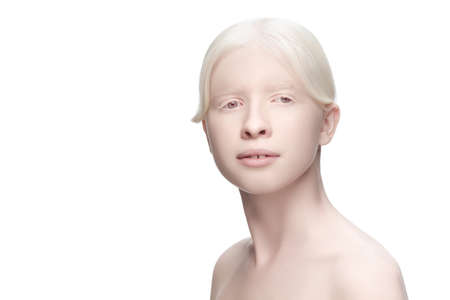 Perfect. Portrait of beautiful albino woman isolated on white studio background. Beauty, fashion, skincare, cosmetics concept. Copyspace. Well-kept skin, fresh look. Inclusion and diversity. 写真素材