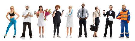 Group of people with different professions on white studio background, horizontal. Modern workers of diverse occupations, male and female models like waiter, builder, barman, trainer, cosmetologist