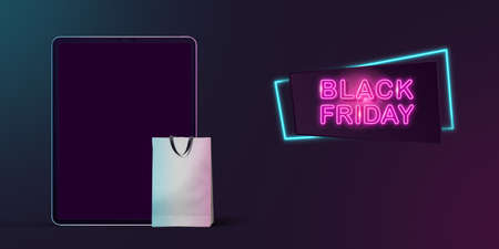 Device with blank screen and shopping bag, black friday, sales concept. Flyer with copyspace. Cyber monday and online purchases, negative space for ad. Finance and money. Neon dark background.