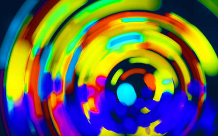 Neoned blue, yellow, red. Colorful holographic swirl, vortex prism. Speed laser motion. Pattern for background, wallpaper, advertising. Retro vaporwave style, distorted fractal fine art.