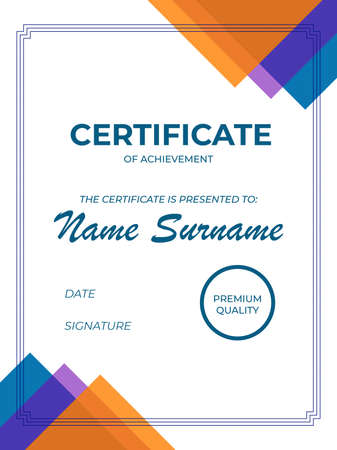 Modern certificate of appreciation template with geometric style elements. Illustration. Copyspace to insert name and surname. Modern and trendy design of diploma, sertificate.