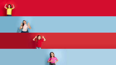 Nice. Young and happy caucasian kids gesturing isolated on multicolored studio background. Human emotions, facial expression concept. Collage with flyers, copyspace for ad. Childhood, education