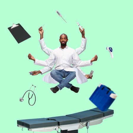 Handsome african doctor, multi-armed man levitating isolated on green studio background with equipment. Concept of professional occupation, work, job, medicine, healthcare. Multi-task like Shiva.