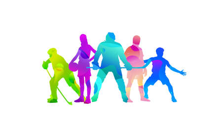 Sport collage made of drawing sportsmen with bright fluid colors isolated on white studio background. Concept of art, inspiration, wellness, healthy lifestyle in action and motion. Flyer, copyspace.