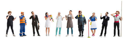 Group of people with different professions isolated on white studio background, horizontal. Male and female models like accountant, butcher, doctor, businessman, miner, barmen, housemaid, sailor Stockfoto