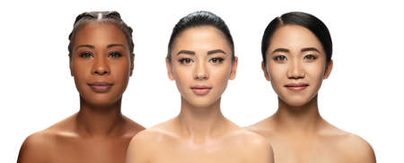 Collage. Multi-ethnic beauty. Different ethnicity and beautiful young women isolated on white background. Flyer for ad. Concept of beauty, fashion, healthcare, skincare. Interracial and multiculturalism.