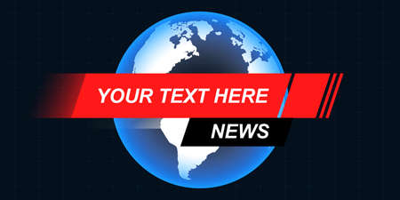 Template, mockup for breaking news screen on TV, video, online newspapers and magazines. Copyspace to insert image and text. Globe Earth on black background with space for text name.