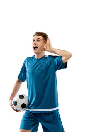 Inspired. Funny emotions of professional soccer player isolated on white studio background. Excitement in game, human emotions, facial expression and passion with sport concept.