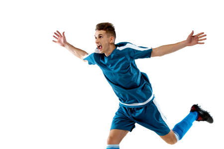 Goal. Funny emotions of professional soccer player isolated on white studio background. Copyspace for ad. Excitement in game, human emotions, facial expression and passion with sport concept.