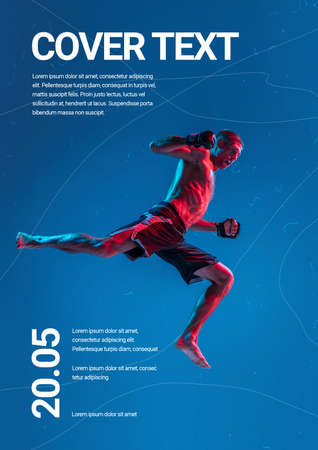 MMA fighter, flying in high jump. Sport event poster in neoned colors. Template, copyspace for your design. Competition, ad, championship, movement concept. Creative work for citylights, billboards.