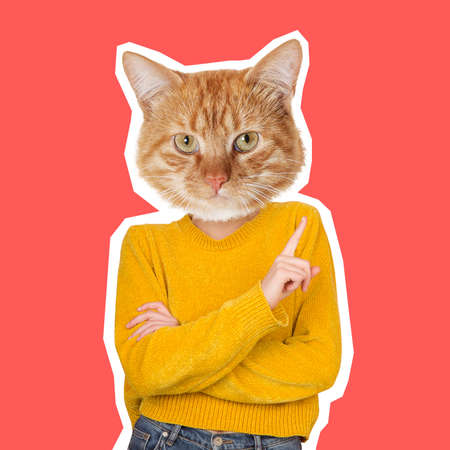 Can be angry. Cats head on female body pointing at side. Modern design, contemporary art collage. Inspiration, idea, trendy urban magazine style. Negative space to insert your text or ad.