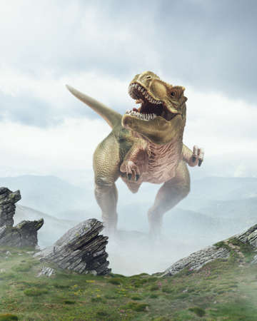 Calling up. Dinosaur huge higth walking through the jungle, foggy mountains. Evolution and paleontology, wild nature, wildlife before birth of humanity. Looks scary, powerful, unstopped hunter. Stock Photo