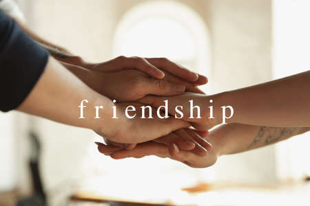 Friendship. African and caucasian hands gesturing on gray studio background. Tolerance and equality, unity, support, kindly coexistence together concept. Worldwide multiracial community.