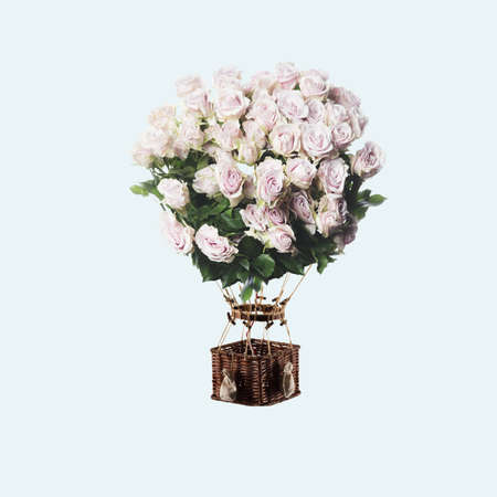 Contemporary art collage, modern design. Summer mood. Balloon with bouquet of tender white roses on light blue
