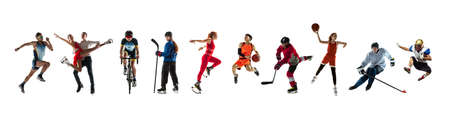 Collage of 9 different professional sportsmen, fit people in action and motion isolated on white background. Flyer.