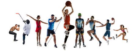 Collage of different 8 professional sportsmen, fit people in action and motion isolated on white background. Flyer.