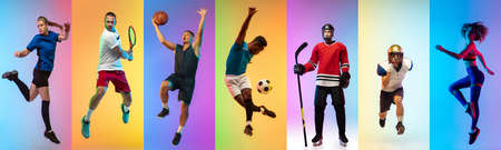 Collage of different professional sportsmen, fit people in action and motion isolated on multicolored neon background. Flyer.