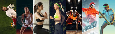 Collage of different professional sportsmen, fit people in action and motion isolated on multicolored background. Flyer.