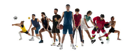 Collage of 8 different professional sportsmen, fit people in action and motion isolated on white background. Flyer.