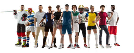 Collage of 10 different professional sportsmen, fit people in action and motion isolated on white background. Flyer.