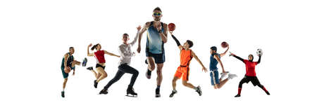 Collage of different professional sportsmen, fit people in action and motion isolated on white background. Flyer. Banco de Imagens