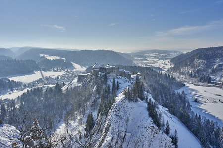 Views of Joux Castle Covered In Snow - La Cluse and Mijoux - France