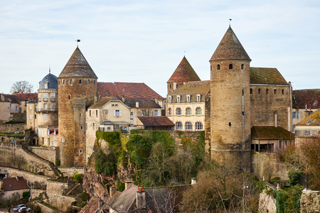 Fortress and Fortified Towers In Medieval Town of Semur en Auxois, Burgundy, France Editorial