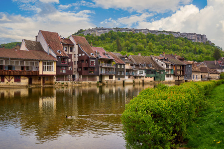 Ornans Cityscape Aside Loue River - Doubs - France